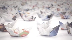 Thousands of origami paper boats - stock footage