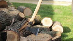 Man chopping wood in the garden Stock Footage