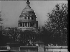 Montage of capital building, World War II headline and American flag, 1940s - stock footage