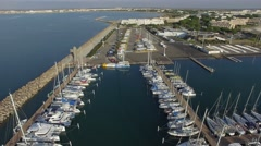 Aerial view of the Port-Camargue, by drone - stock footage