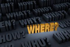 "Asking ""WHERE?"" Stands Out Stock Illustration"