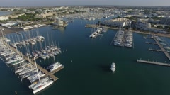 Aerial view of the Port-Camargue, by drone Stock Footage