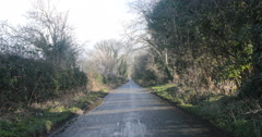 Long country lane near Derry, Northern Ireland Stock Footage