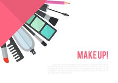 Make up vector flat illustration with lipstick, comb, brush, pal Stock Illustration