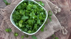 Rotating Scallions (seamless loopable, 4K) Stock Footage