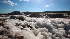 Sea foam on windy seashore Stock Footage