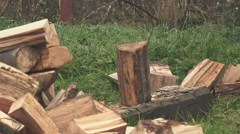 Lumberjack chopping firewood with axe Stock Footage