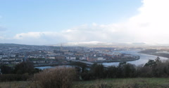 View from a hill of Derry and the waterfront Stock Footage