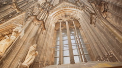 A window of Cologne Cathedral in Germany Stock Footage