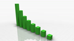 Falling Bar Graph in GREEN - stock footage