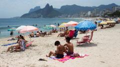 Ipanema Beach in Rio de Janeiro, Brazil. Timelapse Stock Footage