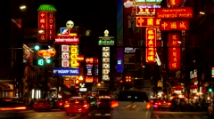 TIMELAPSE Chinatown with evening traffic,Bangkok,Thailand Stock Footage