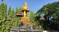 Golden temple in Benjakitti Park Stock Footage