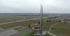 Aerial view of memorial complex The Mound of Glory, Minsk, Belarus Stock Footage