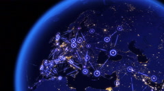 Global communications through the network of connections over Europe. Stock Footage