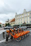 Terminal automatic bicycle rental Cyclocity in Old Town, Vilnius - stock photo