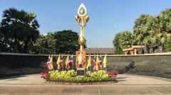 Golden monument at Benjakitti Park Stock Footage