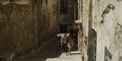 Stock Video Footage of Romantic couple walking in alley during summer