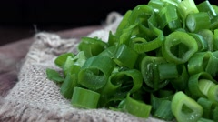 Portion of Rotating Scallions (seamless loopable, 4K) Stock Footage