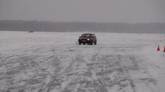Racing circuit on the ice Stock Footage