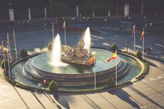 Aerial view of Cibeles fountain at Plaza de Cibeles in Madrid in a beautiful  - stock photo