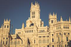 Cibeles Palace is the most prominent of the buildings at the Plaza de Cibeles - stock photo
