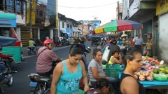 View of a street in Iquitos, Peru. - stock footage