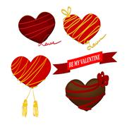 Chocolate heart Valentines day with ribbon Stock Illustration