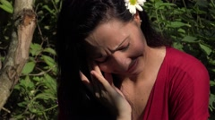 Stock Video Footage of Latin Woman Crying in Nature