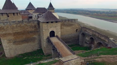 Aerial view of old castle in Khotyn, Ukraine. Stock Footage