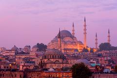 The Suleymaniye Mosque at dusk - stock photo