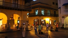 People walk at the Plaza de los Coches Stock Footage