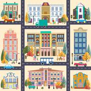Small town and buildings - stock illustration