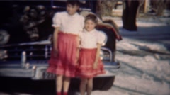 1949: Sister practice synchronized polite curtsy formal bow greeting.   DENVER, Stock Footage