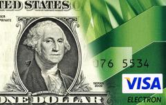 Banknote of one american dollar is converted to a credit card. Concept image - stock photo