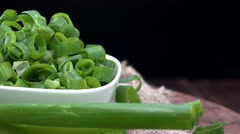 Rotating Scallions (not loopable, 4K) Stock Footage