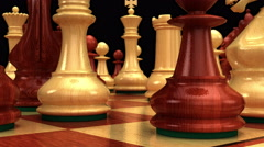 Dolly move on chessboard towards white king Stock Footage