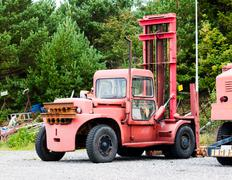 Old Vintage Boat Lift Truck - stock photo