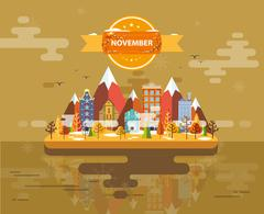 Autumn landscape. Small town - stock illustration