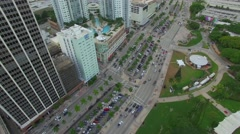 Aerial Downtown Miami Biscayne Boulevard Stock Footage