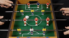 Table soccer above action audio Stock Footage