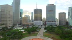 Aerial video above Downtown Miami Stock Footage