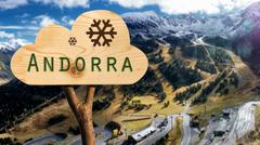 Wooden sign indicating to andorra Stock Photos
