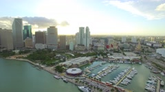 Downtown Miami aerial bayside Stock Footage