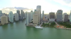 Fast moving city Aerial Downtown Miami Stock Footage