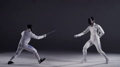 Fencers in Action Stock Footage