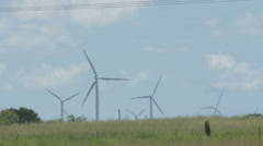 Windmill wind turbine field shot - stock footage