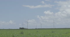 Windmill wind turbine super wide shot - stock footage