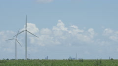 Windmill wind turbine wide shot in 4K Stock Footage
