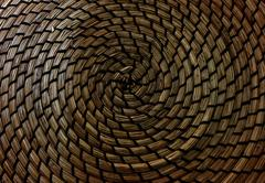 Background Pattern, Brown Handicraft Weave Texture Wicker Surface for Furnitu - stock photo